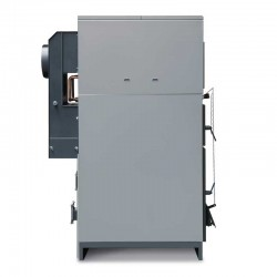 Caldera policombustible Lasian CMX 25 con quemador (leña+gasoil). Vista lateral.
