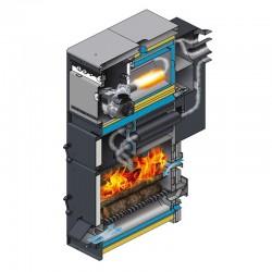 Caldera policombustible Lasian CMX 25 con quemador (leña+gasoil). Sección.
