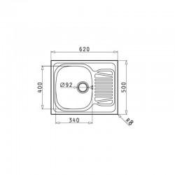 Fregadero inox SPARTA (62X50) 1B 1D Pyramis. Medidas.