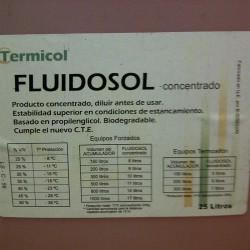 Bidón 25 litros glicol concentrado TERMICOL. Etiqueta.