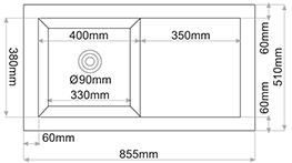 Fregadero de fibra Syan Aton. Medidas