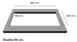 Fregadero de fibra Poalgi Shira 503. Mueble para montaje bajo encimera.