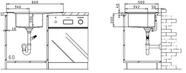 Fregadero de acero inoxidable Studio 1B 1D L de Pyramis. Montaje.